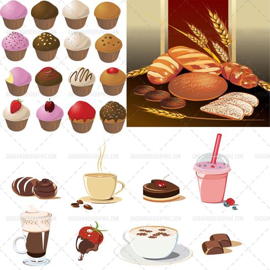 دانلود رایگان وکتور کیک و شیرینی